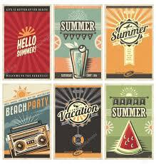set van retro zomer vakantie posters u2014 stockvector lukeruk 95671542