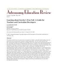 learning about gravity i free fall a guide for teachers and