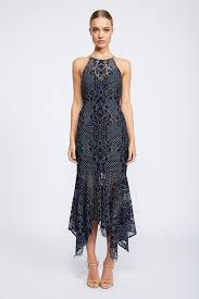 lace dress lace high neck handkerchief midi navy cocktail dress shona