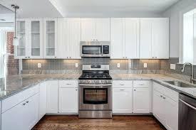 kitchens with subway tile backsplash gray backsplash white cabinets ideas with white cabinets grey