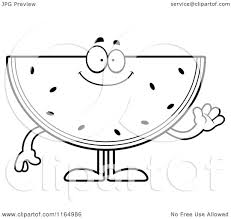 cartoon clipart of a waving watermelon mascot vector outlined