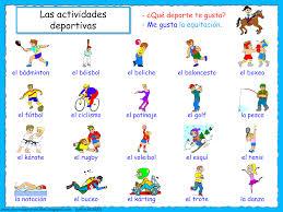 me encanta escribir en español las actividades deportivas me
