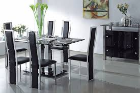 furniture rectangle black glass dining table and six black