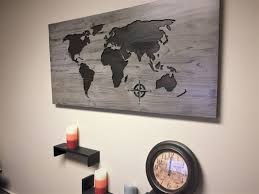 World Map Wood Wall Art by World Map Home Decor Carved Wood Wall Art Stained Wooden