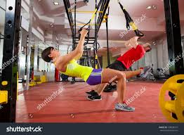 crossfit fitness trx training exercises gym stock photo 139058147