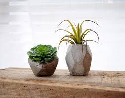 set of 2 mini geometric concrete planter cement planter