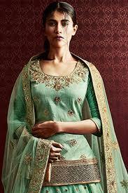 paaneri designer pista green color boottis embroidery chiffon