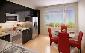 innovative apartment with simple kitchen island also comfy bedroom
