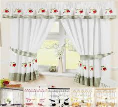 kitchen printed tier kitchen curtain pair on window frame that