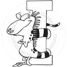 cartoon iguana alphabet letter i black and white line art by ron