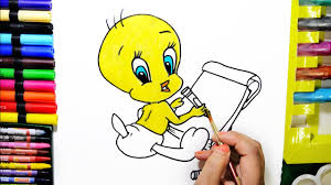 draw color paint cute tweety coloring pages and learn colors for