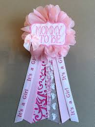 pink bow floral baby shower pin mommy to be pin flower ribbon