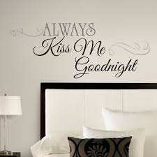 bedroom wall stickers decorate the bedroom wall stylishoms com classic font always kiss me goodnight behind bed wall sticker