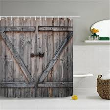 american country style polyester shower curtain old bronze wooden