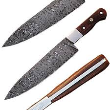 wood handle kitchen knives handmade damascus steel chef knife w wood handle
