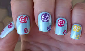 life world women colorful floral nail art by using toothpick