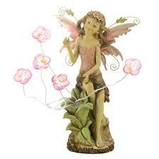 garden solar light statue fairy pink flower lawn yard decoration