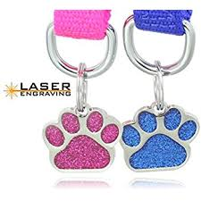pet supplies didog glitter paw print pet id tags for small dogs