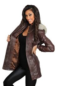 leather jacket with fur hood outdoor jacket