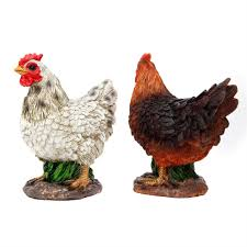 set of 2 small realistic brown white chicken garden ornaments