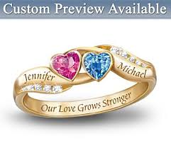 personalized birthstone ring s journey personalized gold plated couples birthstone ring
