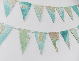 garland of map bunting upcycled garland made from a vintage