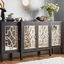 reclaimed wood and mirrored buffet cabinet storage sideboard