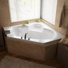elegant corner bathtub ideas with granite tiles