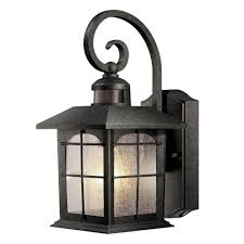 Home Decorators Hampton Bay Hampton Bay 180 Degree 1 Light Aged Iron Outdoor Motion Sensing