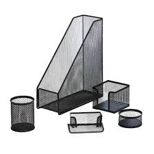 White Desk Accessories by J Burrows Metal Mesh Desk Accessory Set 5 Piece Black Officeworks