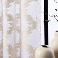 trellis clipped jacquard curtain belgian flax ivory west elm uk