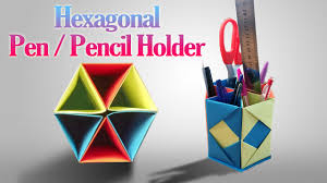 how to make an origami hexagonal pen pencil holder step by step