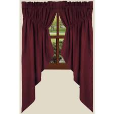 farmhouse solid prairie gathered curtains barn red country