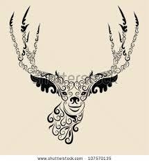 deer ornament tshirt design animal stock vector 107570135