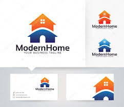 modern home vector logo with business card template u2014 stock vector