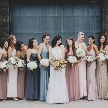 bridesmaids wedding dresses eclectic warehouse wedding inspiration mismatched bridesmaid