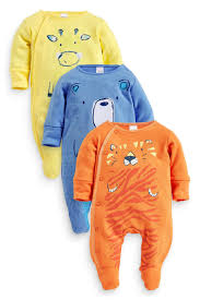 three pack bright animals sleepsuits 0mths 2yrs from the