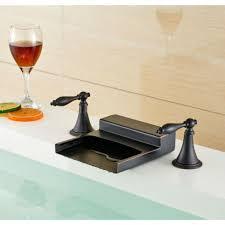 nantes rubbed bronze waterfall dual handle bathroom sink faucet