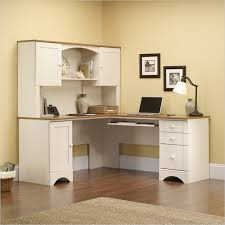 Sauder L Shaped Desk With Hutch Sauder Harbor View Corner Computer Desk Antiqued White 403793