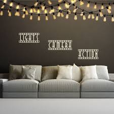 movie theater themed home decor light camera action quote wall decals theatre themed bedroom