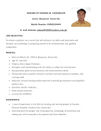 Nursing Resume Examples With Clinical Experience by Basic Simple Filipino Nurse Resume Sample 2014 Simple Nursing