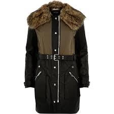 river island black long biker parka jacket in black lyst