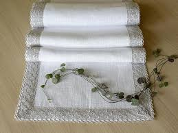 Coffee Table Linens by Pure Linen Table Scarf White Table Runner With Lace Edge Long