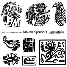 vector mayan animal symbols and mayan profile