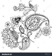 monochrome flower ornament paisley stock vector