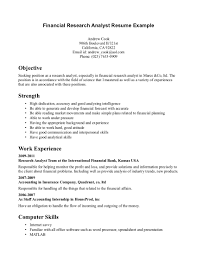 Business Analyst Profile Resume Financial Analyst Job Description Objective Financial Research