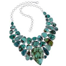 natural gemstone necklace images Where to buy chokers sterling silver turquoise bib necklace jpg