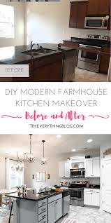 diy modern farmhouse kitchen makeover final reveal full source diy modern farmhouse kitchen makeover at tryeverythingblog com white cabinets white subway tile