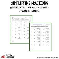 simplifying fractions task cards and worksheets bundle