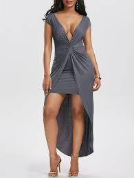 tight dress 2018 twist front high low hem tight dress gray m in maxi dresses